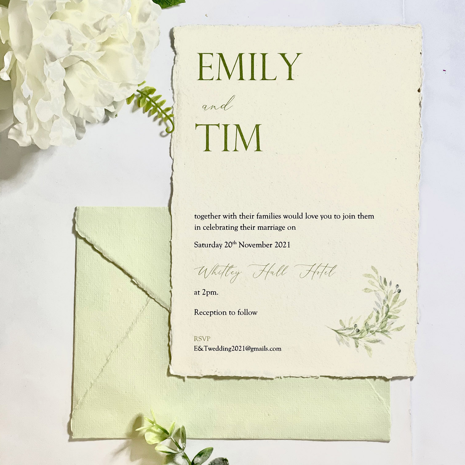 Cotton paper invitation with leaf design and matching envelope (1)
