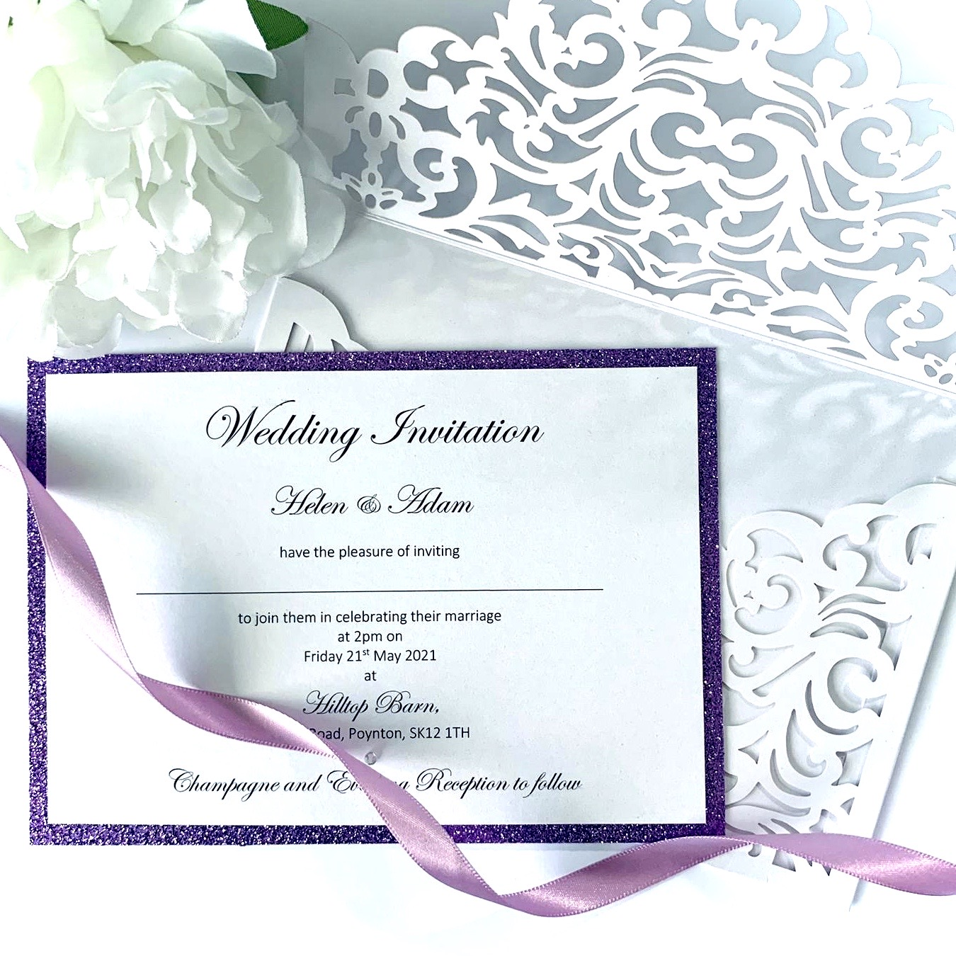 crsip white laser cut with lilac glitter and satin ribon (2)