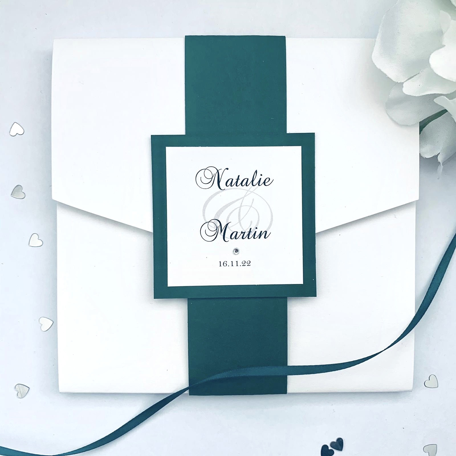forest geen pocketfold invitation with bellyband (1) (1)